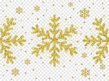 Christmas golden snowflake decoration of glittering sparkles shine with glare light effect on white transparent background. Vector Stock Photo