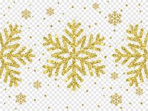 Christmas golden snowflake decoration of gold glitter shine. On white transparent background template. Vector glittering shine sparkles of sparkling snow flake Royalty Free Stock Photos