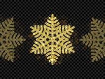 Christmas golden snowflake glitter pattern black background vector gold shine sparkle snow decoration. Christmas golden snowflake decoration of gold glitter Royalty Free Stock Photography