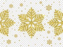 Christmas golden snowflake decoration of gold glitter shining sparkles on white transparent background. Vector glittering shine sn. Ow flake glowing shine light Royalty Free Stock Photos