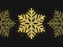 Christmas golden snowflake glitter pattern black background vector gold shine sparkle snow decoration. Christmas golden glitter snowflake decoration of gold Royalty Free Stock Images