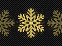Christmas golden snowflake glitter pattern black background vector gold shine sparkle snow decoration. Christmas holiday golden snowflake decoration of gold Royalty Free Stock Images