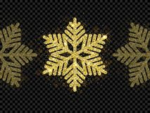 Christmas golden snowflake glitter pattern black background vector gold shine sparkle snow decoration. Christmas golden snowflake decoration of gold glitter Stock Photo