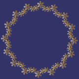 Christmas golden snowflakes on dark blue round frame. For your design. Winter illustration royalty free illustration