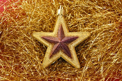 Christmas golden star Stock Images