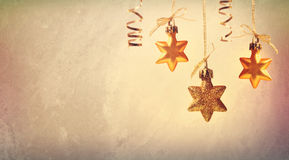 Christmas golden star ornaments Stock Image