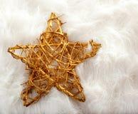 Christmas golden star over white fur Stock Images