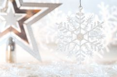 Christmas golden star and snowflake on a beautiful background. Christmas background. Royalty Free Stock Images