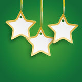 Christmas 3 Golden Stars Green Background Stock Images