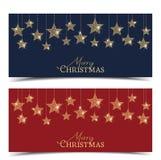 Christmas golden stars vector illustration