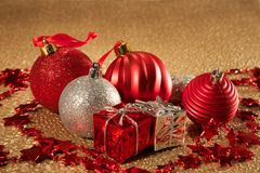Christmas on golden textured background Stock Photography