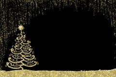 Christmas golden tree card. Stock Photo