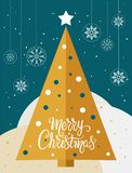 Christmas golden tree card with snowflakes globes - vector. Christmas golden tree card with snowflakes globes and the words Merry Christmas - vector. Eps file royalty free illustration
