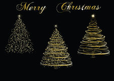 Christmas golden trees Stock Photos