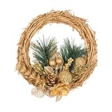 Christmas golden wreath with coniferous branch Royalty Free Stock Photos
