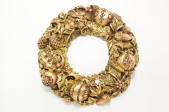 Christmas  golden wreath isolated Royalty Free Stock Photo