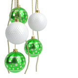Christmas and golf balls isolated on white. 3D illustration