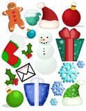 Christmas Goodies. Various Christmas illustrations and objects all collected on one sheet Royalty Free Stock Images