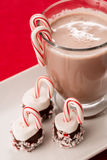 Christmas Goodies of Marshmallows and Candy Canes and Hot Chocol. Mug of hot chocolate with marshmallows and candy canes Christmas treats Royalty Free Stock Image