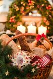 Christmas goods basket holiday food. Christmas goods in a basket. Assortment of delicious festive holiday food. Great present on different holidays Stock Photography