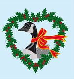 Christmas goose. Canadian goose with holly wreath stock illustration