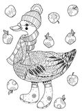 Christmas goose in funny hat doodle. Christmas goose in funny hat doodle with  apples.Bird zentangle collection Stock Photography
