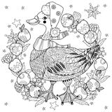 Christmas goose in funny hat doodle Stock Photos