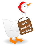 Christmas Goose wearing eat turkey sign anti-goose Stock Photos