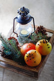 Christmas grapefruits in wooden box. Christmas symbols including grapefruits in wooden box Stock Images