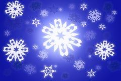 Christmas graphic background with white falling. Beautiful illustration with big white shining snowflakes on blue background royalty free illustration