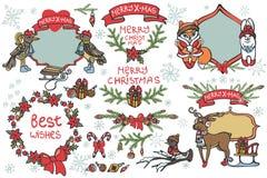 Christmas graphic decor elements,animals set Royalty Free Stock Photography