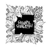 Christmas graphic design. Christmas coniferous design with glowing garland, fir and holly branches. Vector art in black and white colors. Coloring book page Royalty Free Stock Image