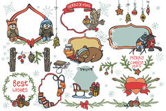 Christmas graphic elements,animals set Royalty Free Stock Images