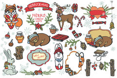 Christmas graphic elements,cartoon animals Stock Image