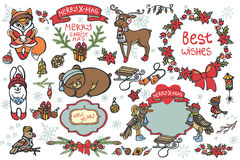 Christmas graphic elements, cute cartoon animals Stock Photography