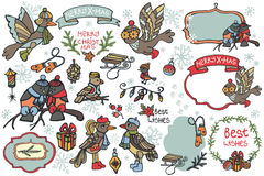 Christmas graphic elements, cute cartoon birds Stock Image