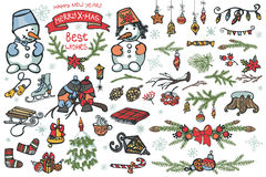 Christmas graphic elements,snowman,birds,branches Royalty Free Stock Photography