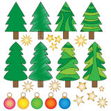 Christmas Graphics. Christmas trees, baubles and stars stock illustration
