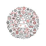 Christmas graphics. Xmas line art icons arranged in ball Stock Photography