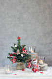 Christmas gray background with candles and tree Royalty Free Stock Photos