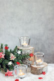 Christmas gray background with candles and tree Royalty Free Stock Image