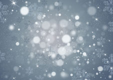 Christmas gray background. With lights, stars and snowflakes stock illustration