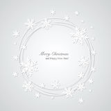 Christmas gray background with snowflakes and plac. E for text. Round frame. Vector Illustration Royalty Free Stock Images