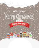 Christmas greating card. Vintage buildings with sn Royalty Free Stock Image