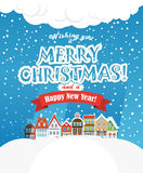 Christmas greating card. Vintage buildings with snowfall on Wint Royalty Free Stock Image