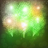 Green background with fireworks. Green background with brights fireworks. Festive illustration royalty free illustration