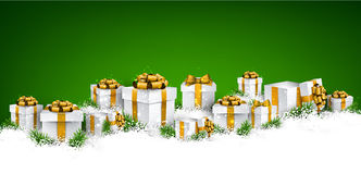 Christmas green background with gift boxes. Abstract green christmas background with fir branches and realistic gift boxes. Vector illustration Stock Image