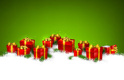 Christmas green background with gift boxes. Abstract green christmas background with fir branches and realistic gift boxes. Vector illustration Stock Images