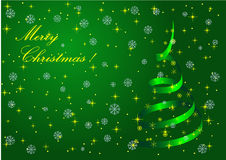Christmas Green background with metaphoric Christm. As tree and snowflakes Stock Photos