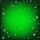 Christmas green background with snow Stock Photos